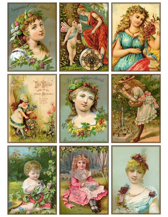 Un insieme di nove schede di commercio antiche delle ragazze dell'annata illustrazione di stock