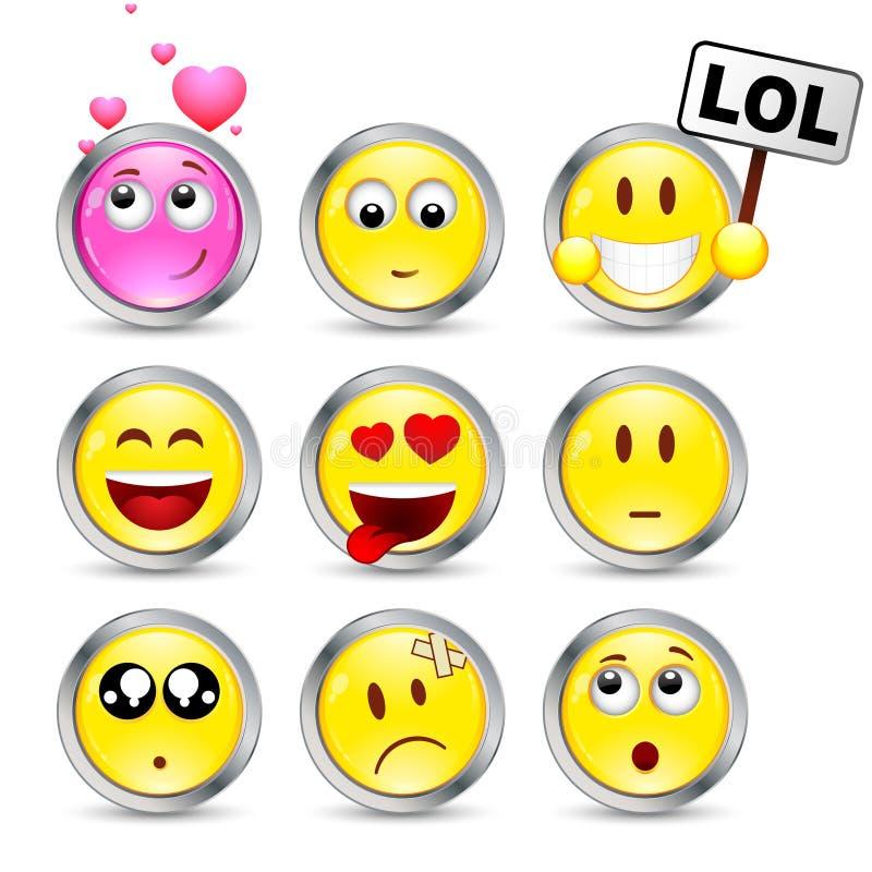 Un insieme di nove smiley illustrazione vettoriale