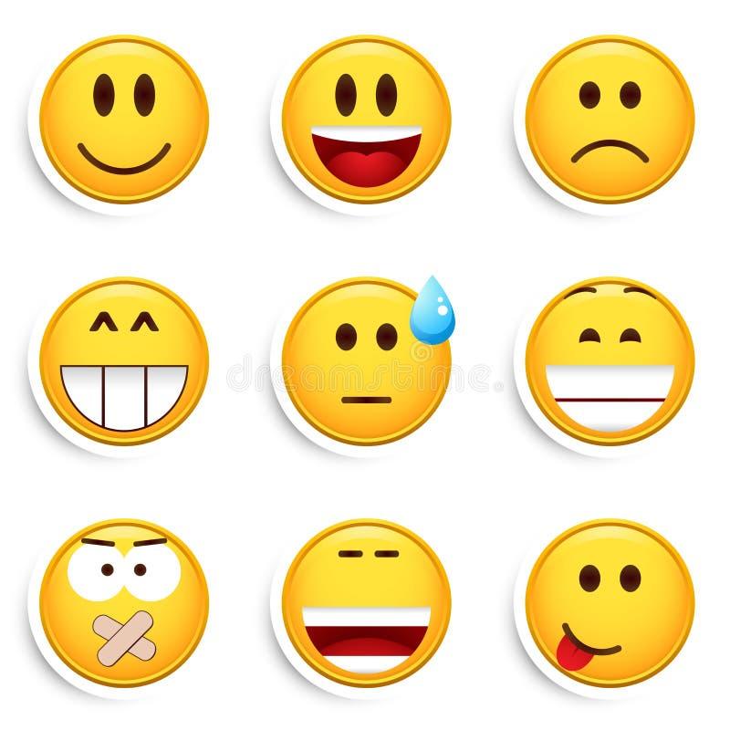 Un insieme di nove smiley illustrazione di stock