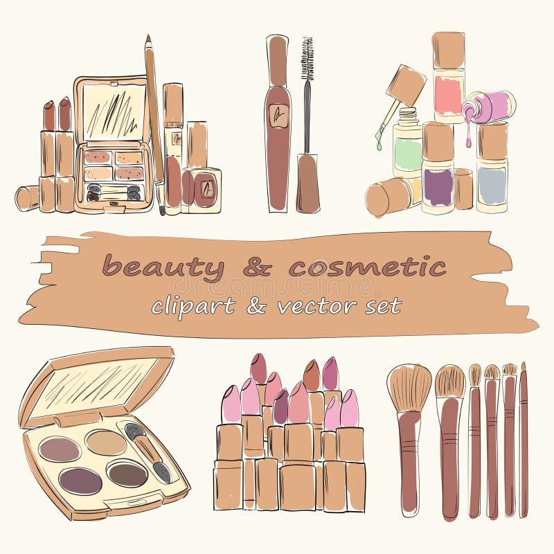 Un insieme di 6 oggetti dei cosmetici e di trucco immagine stock libera da diritti