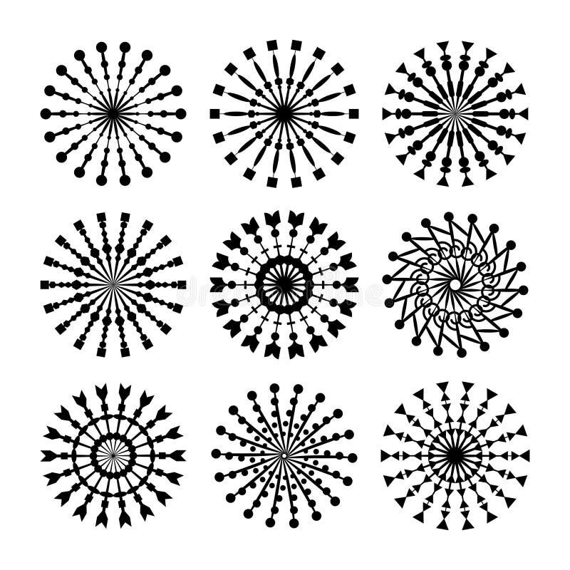 Un insieme di 9 ornamenti del cerchio di vettore per progettazione Modelli decorativi del bollo royalty illustrazione gratis