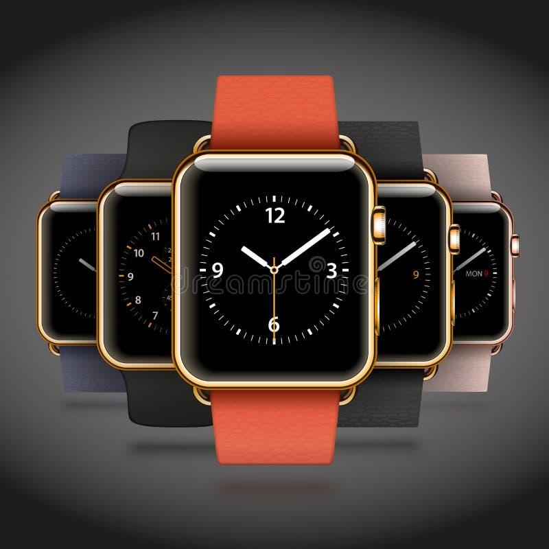 Un insieme di 5 orologi astuti dorati brillanti moderni dell'edizione illustrazione vettoriale