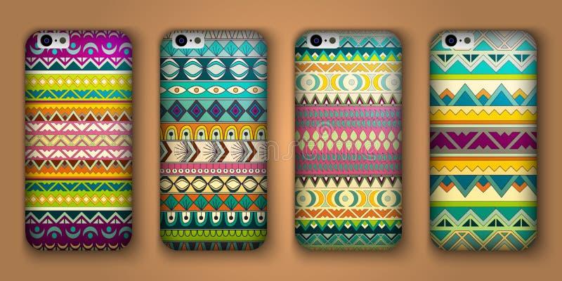 Un insieme di otto coperture per il vostro telefono cellulare Origini etniche decorative di vettore illustrazione di stock