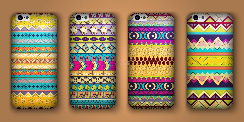 Un insieme di otto coperture per il vostro telefono cellulare Origini etniche decorative di vettore royalty illustrazione gratis