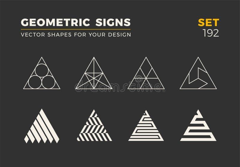 Un insieme di otto forme d'avanguardia minimalistic Emblemi alla moda di logo di vettore per la vostra progettazione Raccolta geo illustrazione vettoriale