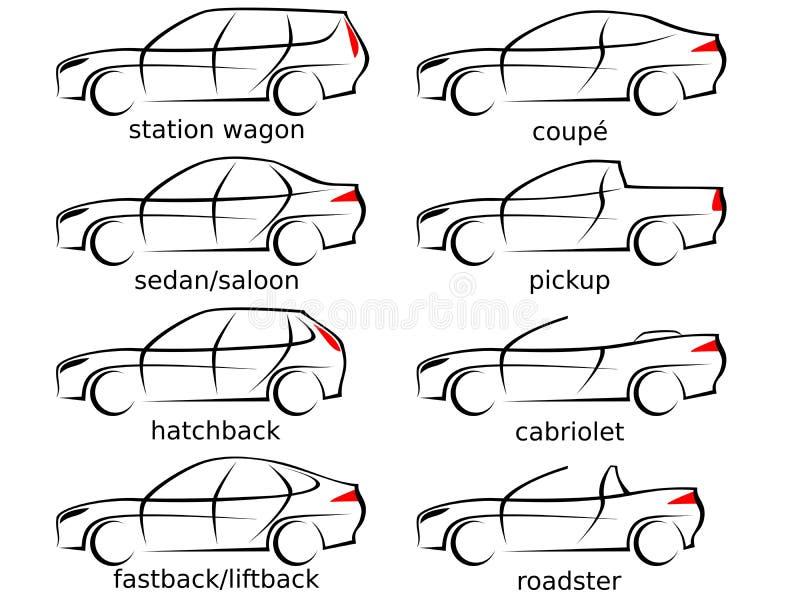 Un insieme di otto varie forme dell'automobile come illustrazione di vettore illustrazione vettoriale