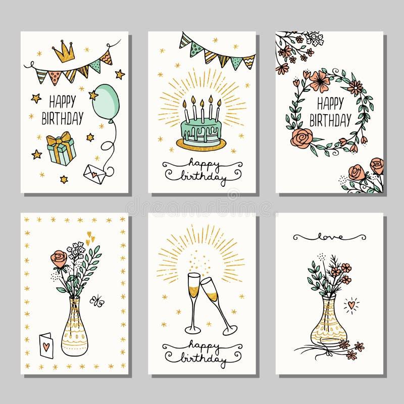 Un insieme di 6 piccoli biglietti di auguri per il compleanno disegnati a mano royalty illustrazione gratis