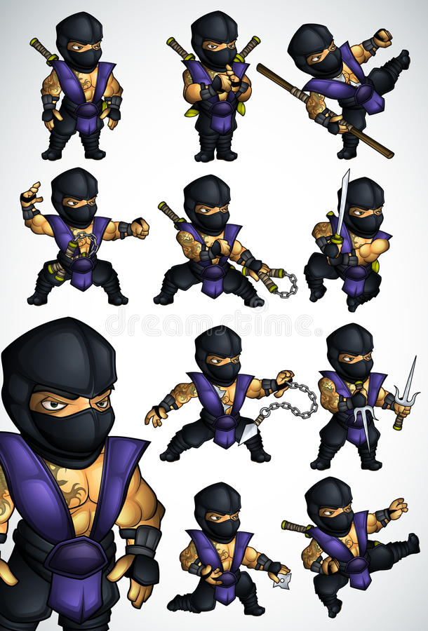 Un insieme di 11 posa di Ninja in kimono blu illustrazione vettoriale
