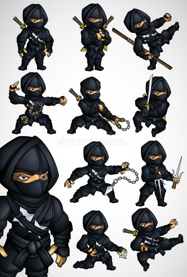 Un insieme di 11 posa di Ninja in un vestito nero royalty illustrazione gratis