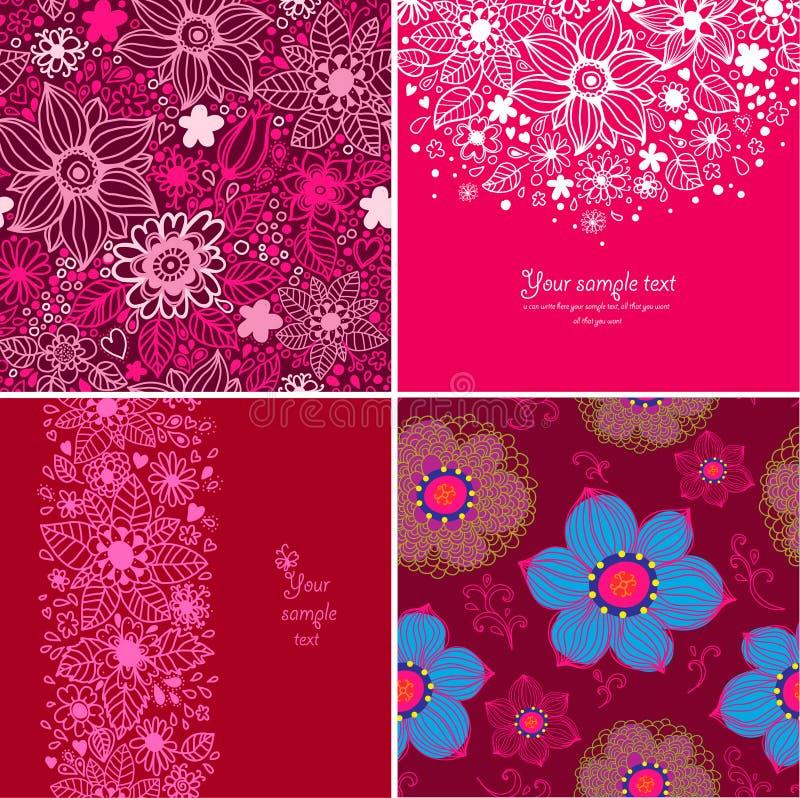 Un insieme di quattro ambiti di provenienza felici di giorno di biglietti di S. Valentino. illustrazione di stock