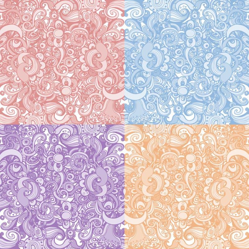 Un insieme di quattro ambiti di provenienza floreali illustrazione vettoriale