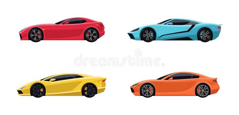 Un insieme di quattro automobili eccellenti di sport illustrazione vettoriale