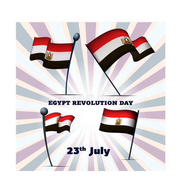 Un insieme di quattro bandiere dell'Egitto l'Egitto rivoluzione giorno sul 23 luglio royalty illustrazione gratis