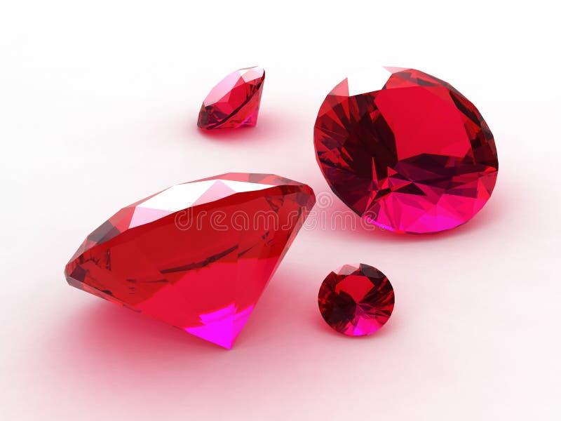Un insieme di quattro che incantano intorno ai rubini illustrazione vettoriale