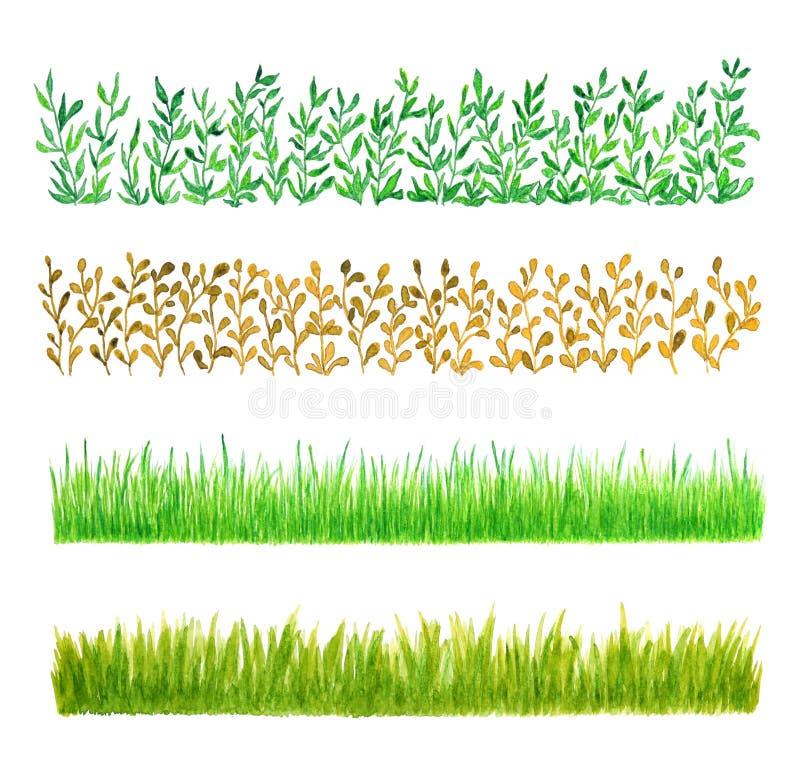 Un insieme di quattro confini dell'acquerello dell'erba illustrazione vettoriale