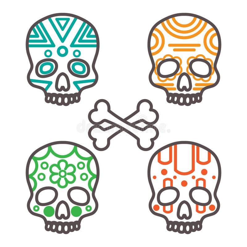 Un insieme di quattro crani tribali illustrazione di stock