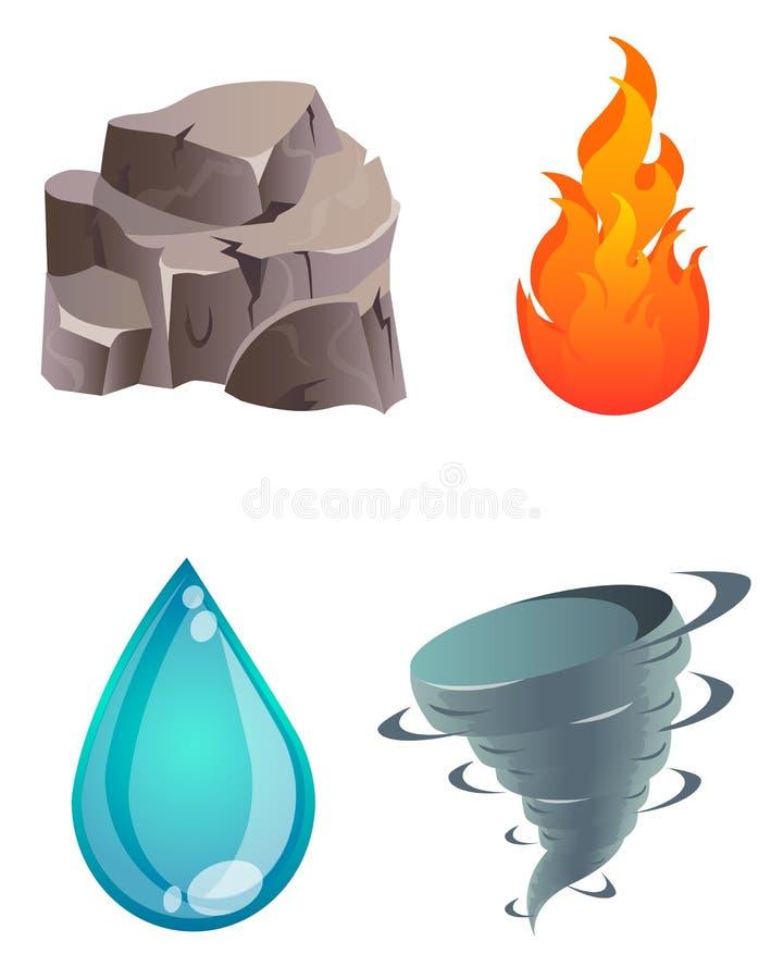 Un insieme di quattro elementi naturali illustrazione di stock