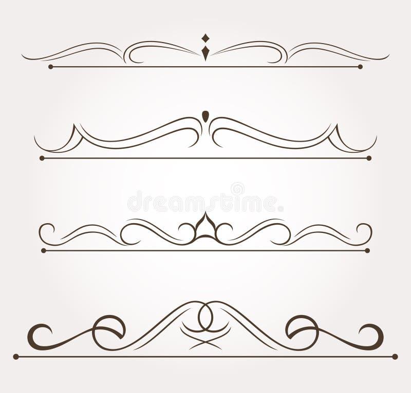 Un insieme di quattro elementi di progettazione e decorazioni della pagina royalty illustrazione gratis