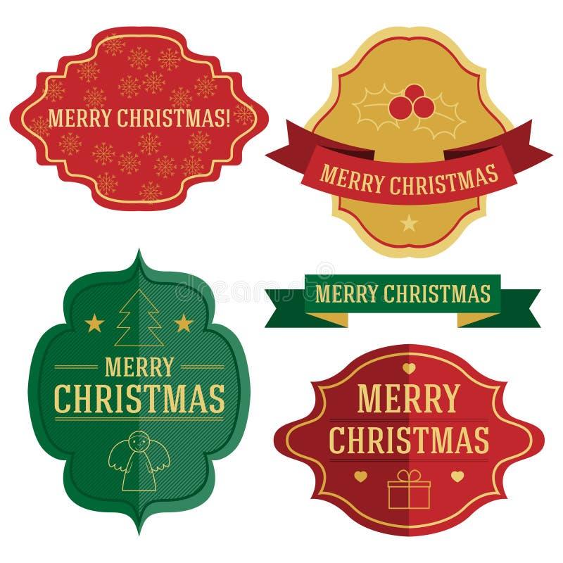 Un insieme di quattro etichette e nastri di Natale di vettore illustrazione di stock