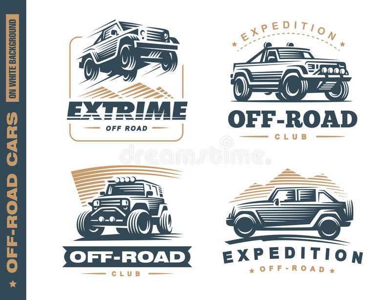 Un insieme di quattro etichette fuori strada di monocromio dell'automobile del suv royalty illustrazione gratis