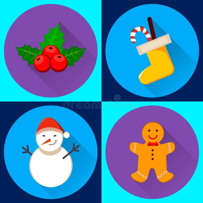 Un insieme di quattro icone di vettore per il nuovo anno ed il Natale Pupazzo di neve, calzino di Natale illustrazione vettoriale