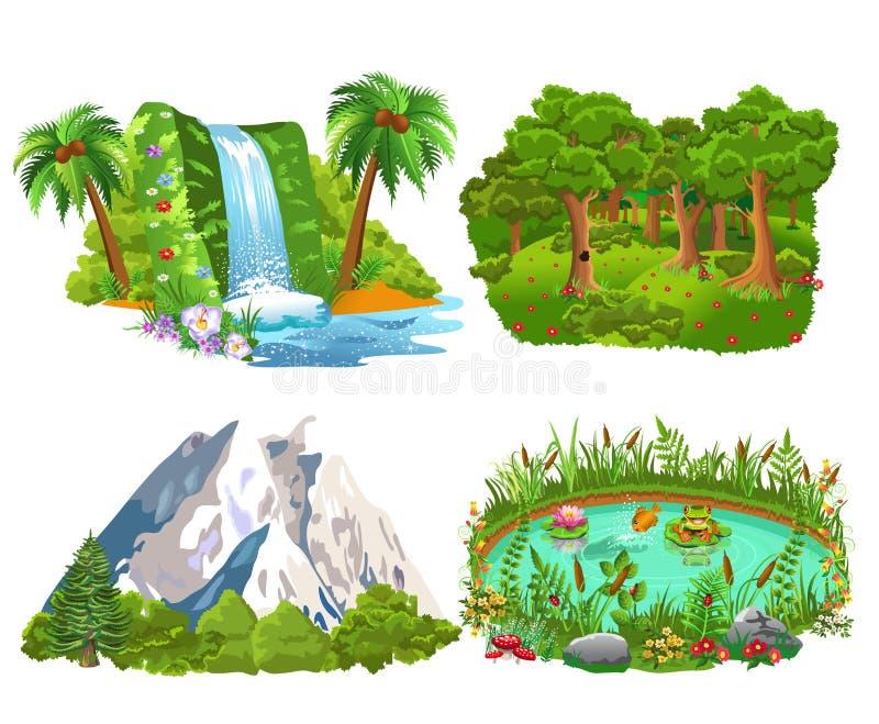 Un insieme di quattro icone naturali gradisce l'isola, la foresta, le montagne e lo stagno royalty illustrazione gratis