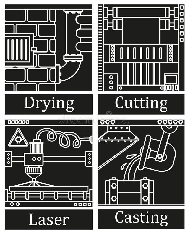 Un insieme di quattro immagini di tecnologico fabbrica royalty illustrazione gratis