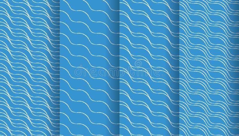 Un insieme di quattro linee organiche mattonelle senza cuciture del modello nei colori moderni royalty illustrazione gratis