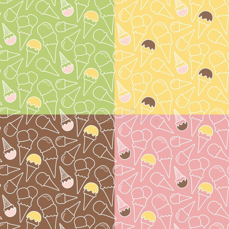 Un insieme di quattro modelli del gelato di estate sugli ambiti di provenienza differenti illustrazione di stock