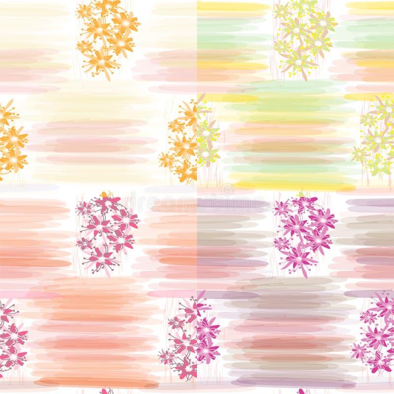 Un insieme di quattro modelli senza cuciture floreali con le bande orizzontali dell'acquerello illustrazione di stock