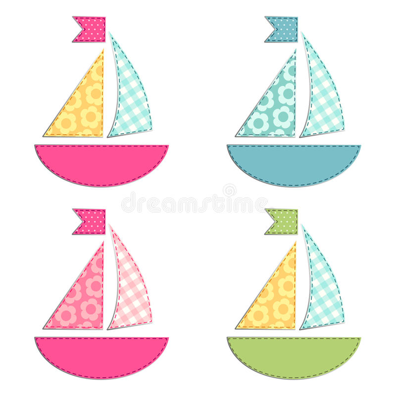Un insieme di quattro navi come retro applique del tessuto come elementi della doccia di bambino royalty illustrazione gratis