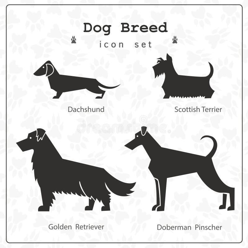 Un insieme di quattro razze stilizzate del cane illustrazione vettoriale