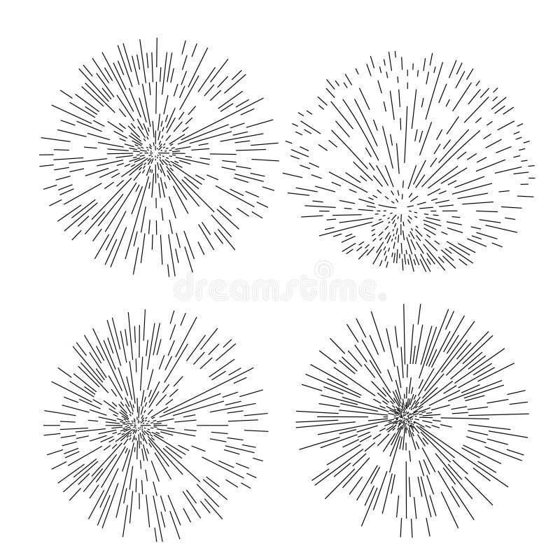 Un insieme di quattro retro forme di esplosione solare Elementi d'avanguardia di progettazione dello sprazzo di sole dei pantalon illustrazione di stock