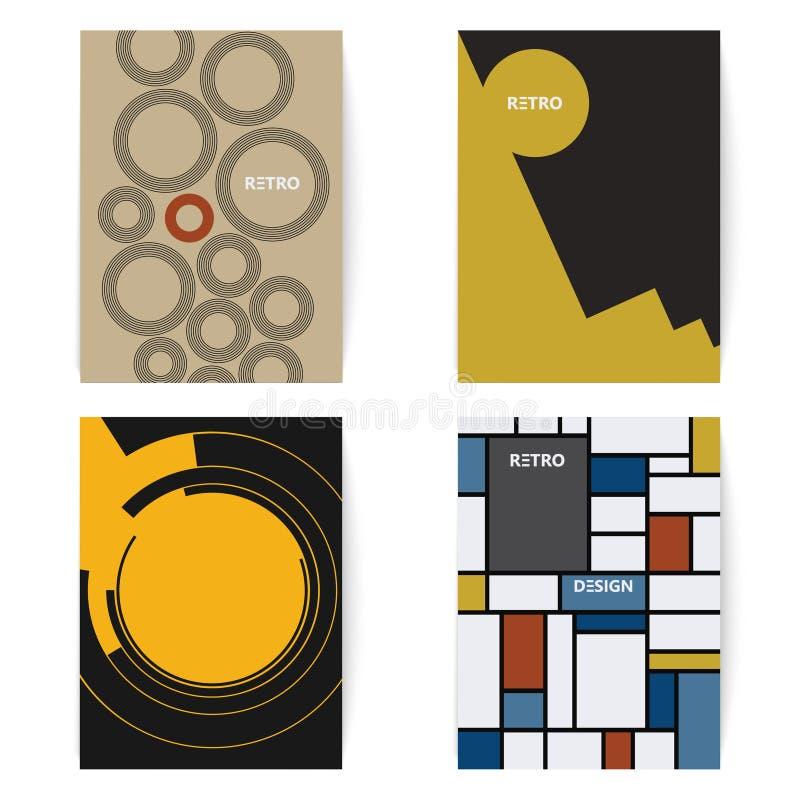 Un insieme di quattro retro opuscoli stampa il modello in uno stile d'annata Illustrazione di Digital illustrazione vettoriale