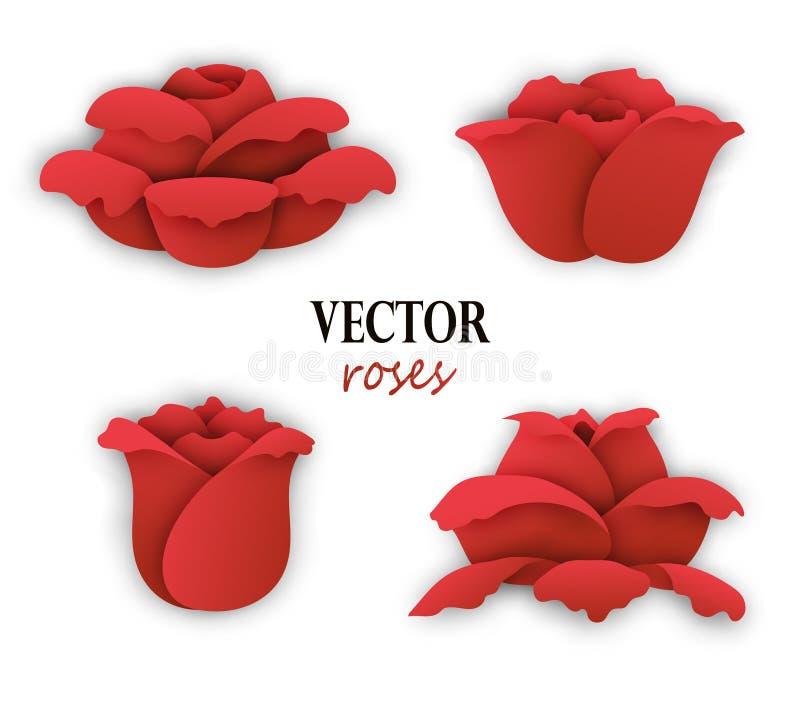 Un insieme di quattro rose rosse di carta illustrazione vettoriale
