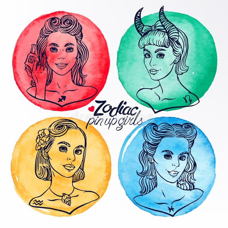 Un insieme di quattro segni 3 dello zodiaco illustrazione di stock