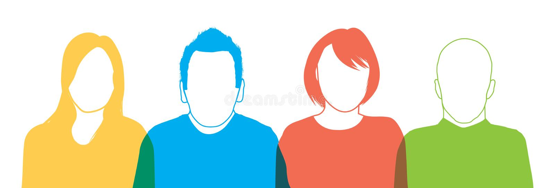 Un insieme di quattro siluette della gente illustrazione vettoriale