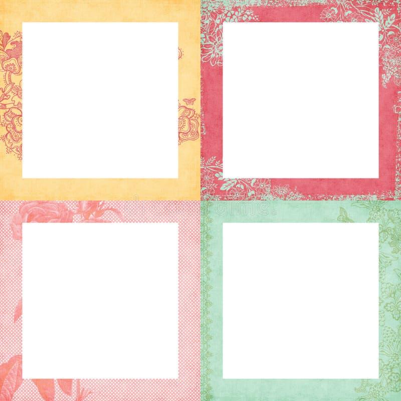 Un insieme di quattro telai floreali miseri royalty illustrazione gratis