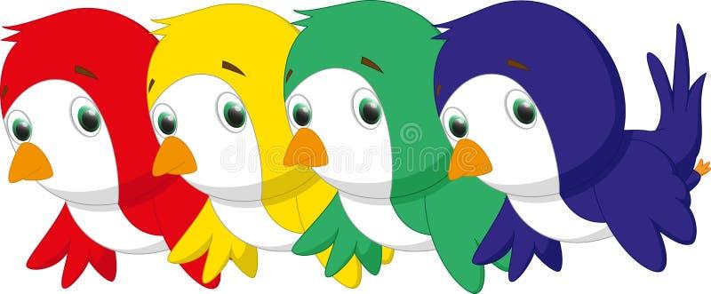 Un insieme di quattro uccelli del fumetto in tre colori illustrazione di stock