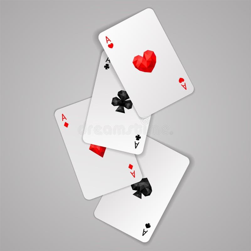 Un insieme di quattro vestiti delle carte da gioco degli assi Mano di mazza illustrazione di stock