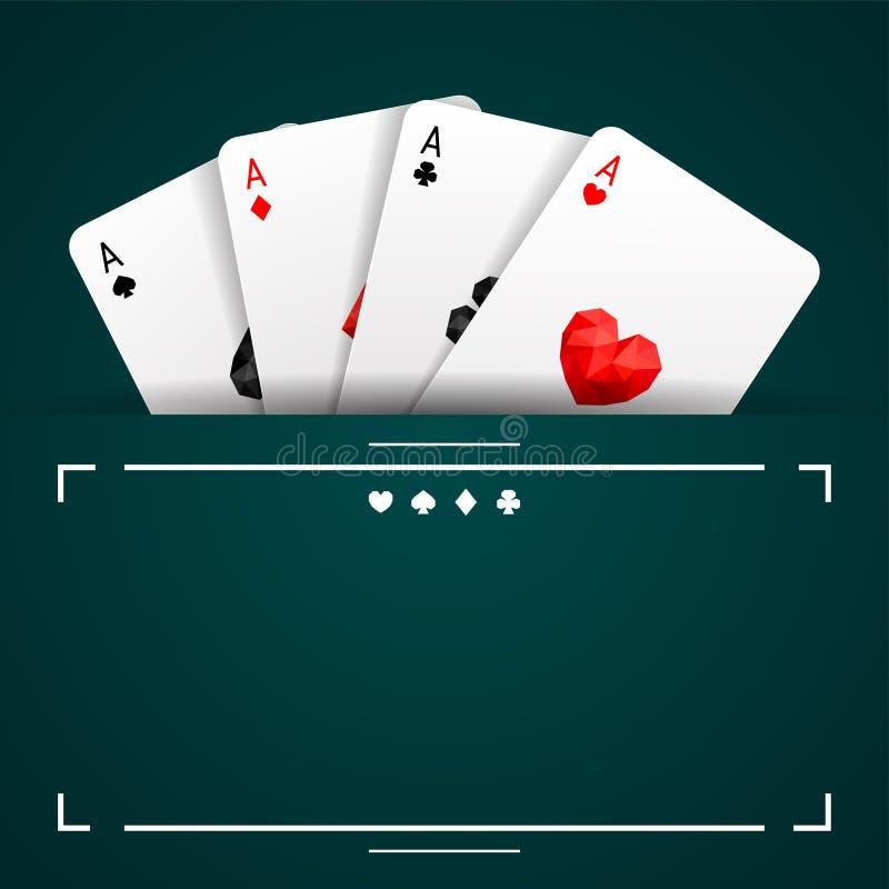 Un insieme di quattro vestiti delle carte da gioco degli assi Mano di mazza di conquista illustrazione vettoriale