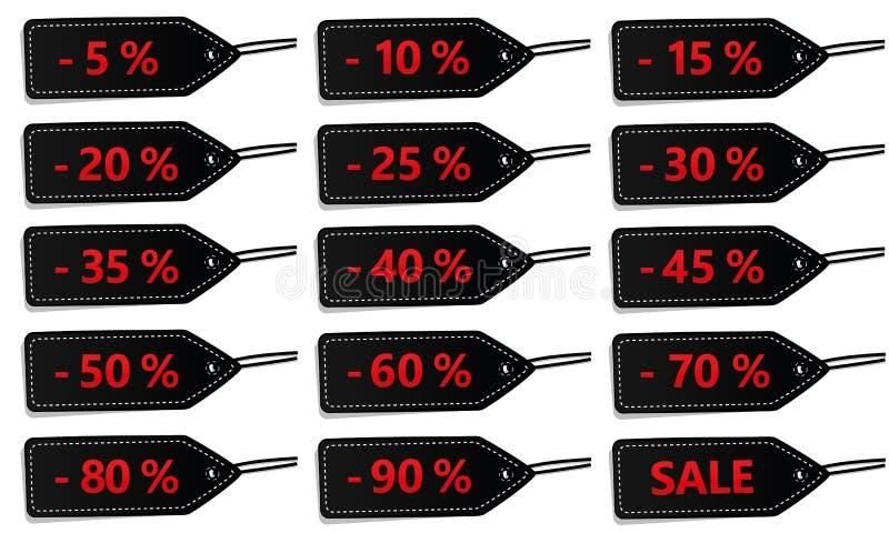 Un insieme di quindici etichette nere di sconto da vendere illustrazione vettoriale