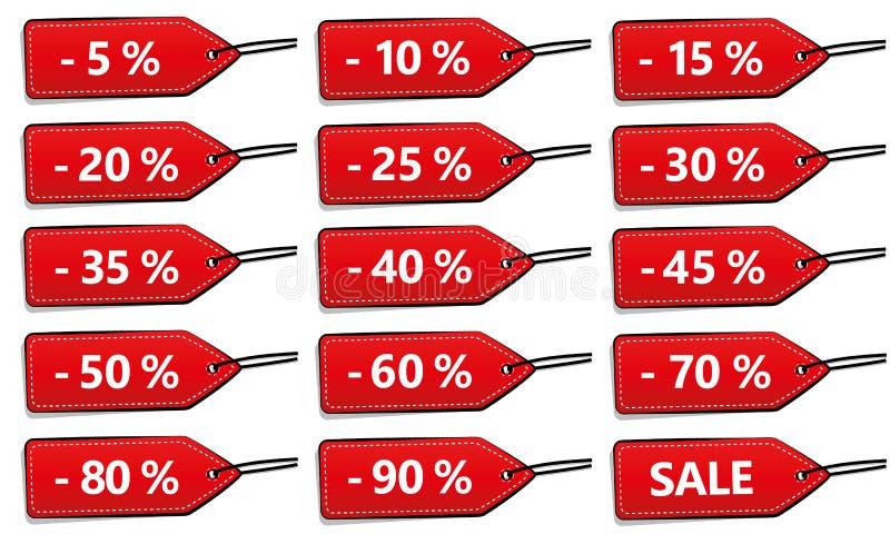Un insieme di quindici etichette di sconto di rosso da vendere illustrazione di stock