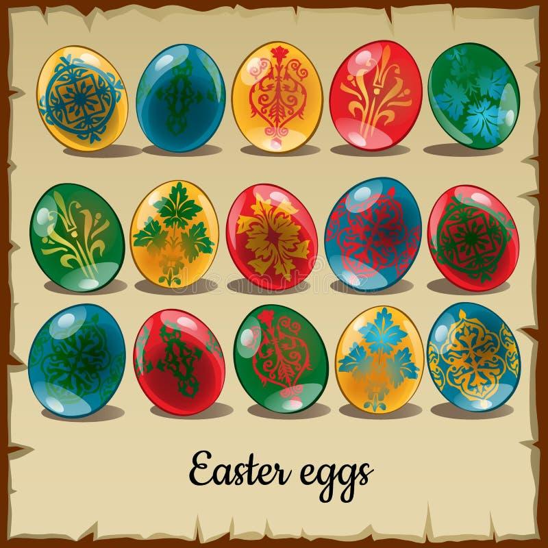 Un insieme di quindici uova di Pasqua variopinte illustrazione vettoriale