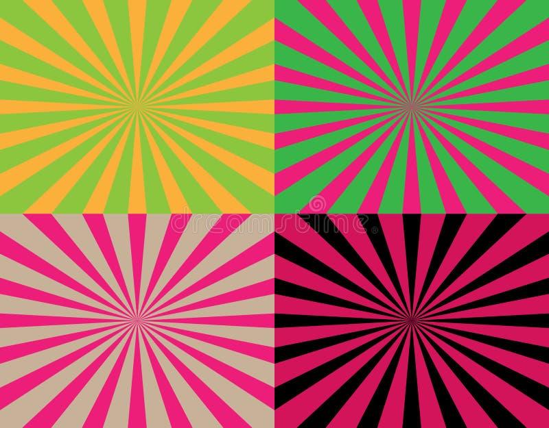 Un insieme di 4 raggi a strisce astratti variopinti dagli ambiti di provenienza concentrare Strutture di Starburst illustrazione vettoriale