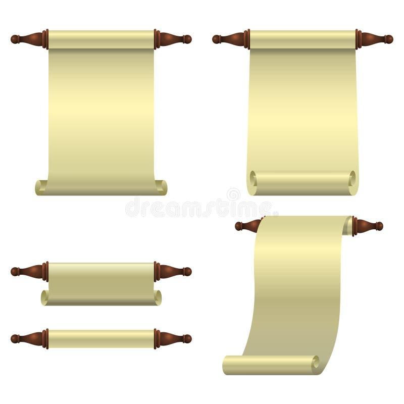 Un insieme di 3 rotoli vuoti spiegato verticalmente, di un rotolo acciambellato e di a metà di rotolo aperto illustrazione di stock