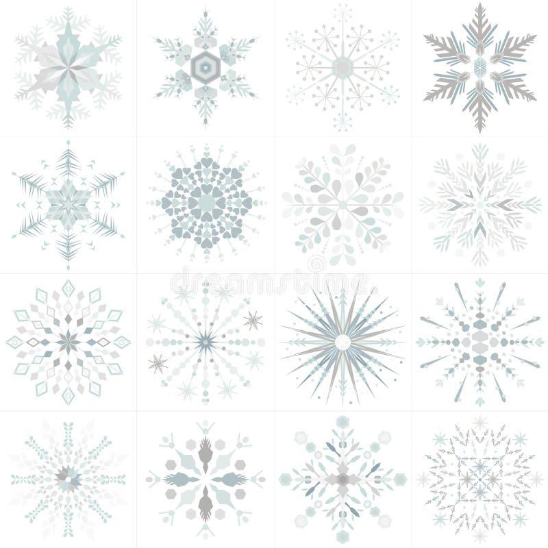 Un insieme di sedici progettazioni uniche del fiocco di neve nello stile di vettore royalty illustrazione gratis