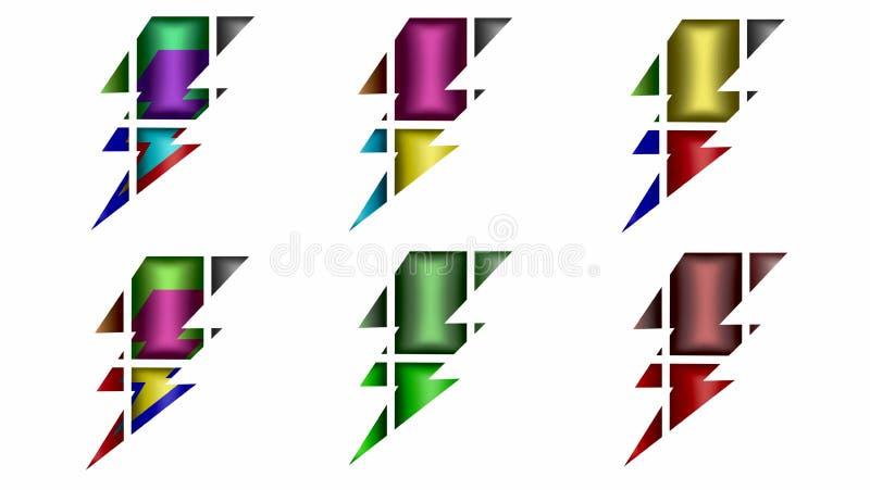 Un insieme di sei fulmini si è diviso in sei parti per la vostra progettazione illustrazione di stock