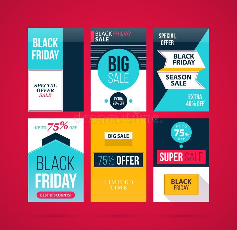Un insieme di sei insegne/manifesti di Black Friday nello stile piano moderno illustrazione di stock