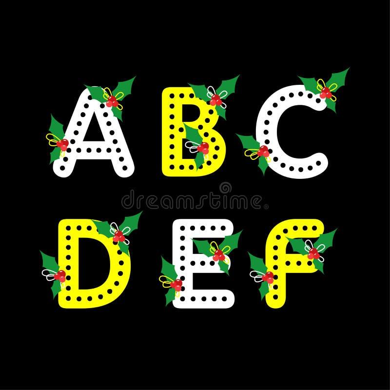 Un insieme di sei lettere, segna la progettazione con lettere piana per il giorno di Natale royalty illustrazione gratis